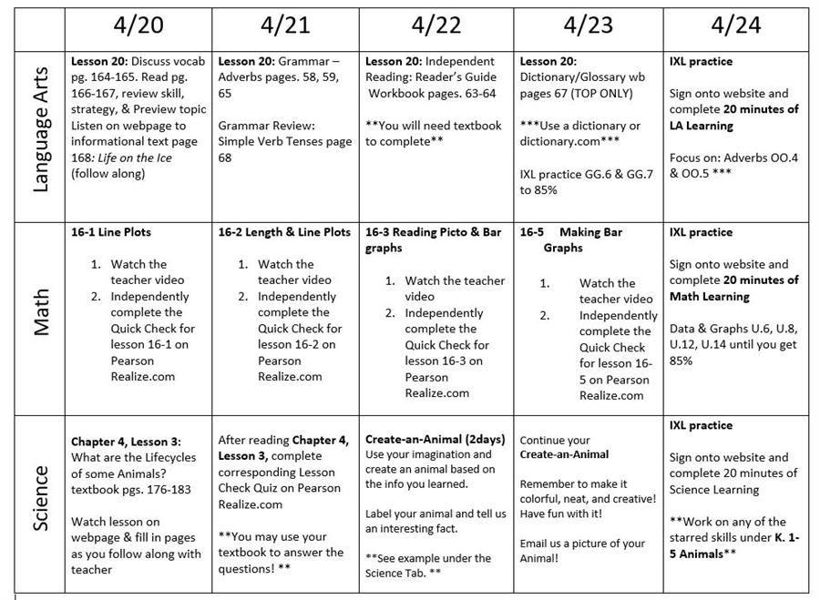 week 6 plans
